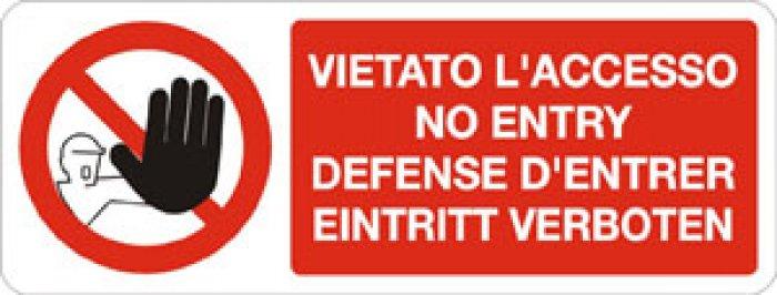 Vietato L Accesso Inglese Francese Tedesco Rettangolare 726 Emme Antincendio Srl