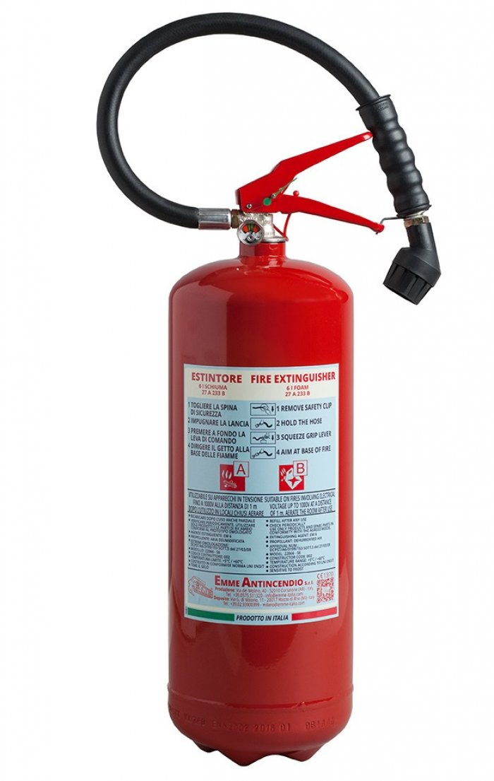 6L Water+Additive Portable fire extinguisher - PED EN 3-7 - Model: 22066