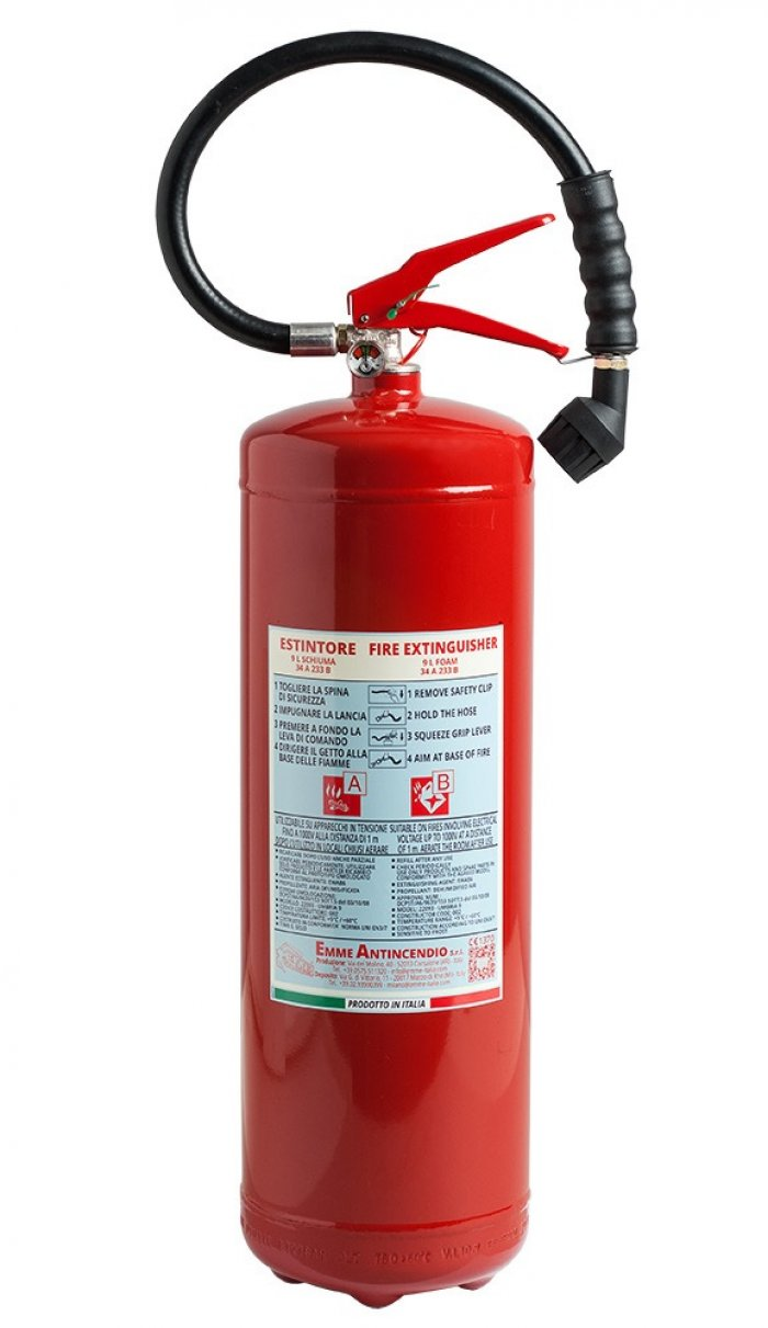 9 L Water+Additive Portable fire extinguisher - PED EN 3-7 - Model: 22093
